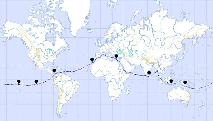 KT3D MAP - Mapa de la expedició sencera amb les localitzacions de possibles vols en globus.