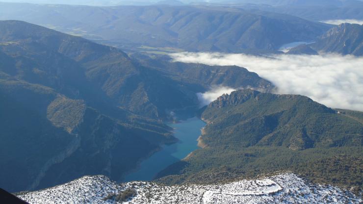 Serra del Montsec des del Globus